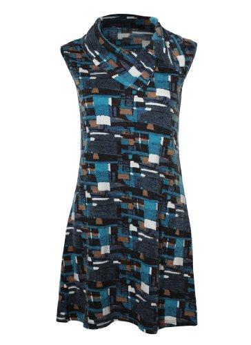 Nueva mujeres Teal Azul sin mangas geométrica túnica Top Cuello abstractos Grupo Schalt superficie Sugar Crisp Mujer Mode 10121416