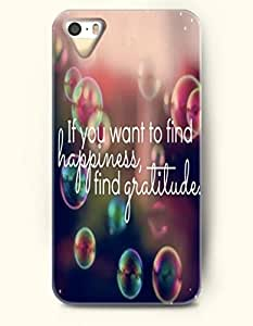 OOFIT Stylish If You Want To Find Happiness Find Gratitude Pattern Case for iPhone 4 4S -- Life Quotes Series