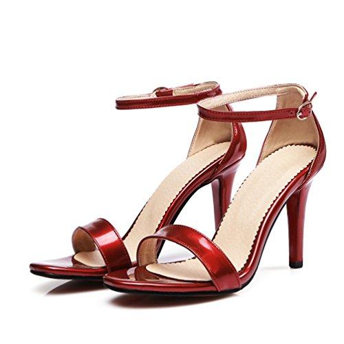 13red Peep Dress Womens Strap Stilettos toe Heel Buckle High AIWEIYi 10 Sandals CPA5wqn