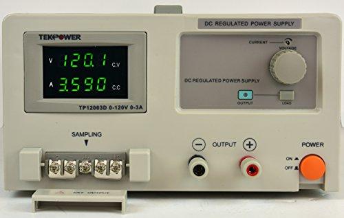Tekpower TP12003D DC Adjustable Linear Power Supply, Input 120V, Output 0-120V @ 0-3A Adjustable,Transformer Type Clean Power Source (120Volt/3A), Better than HY3003D