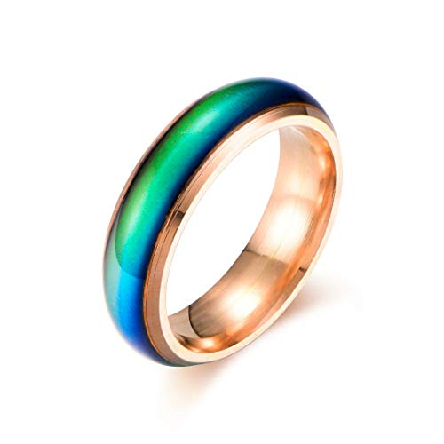 Ello Elli 6MM Comfort Fit Stainless-Steel Color Changing Mood Ring (Rose Gold, 11.5)