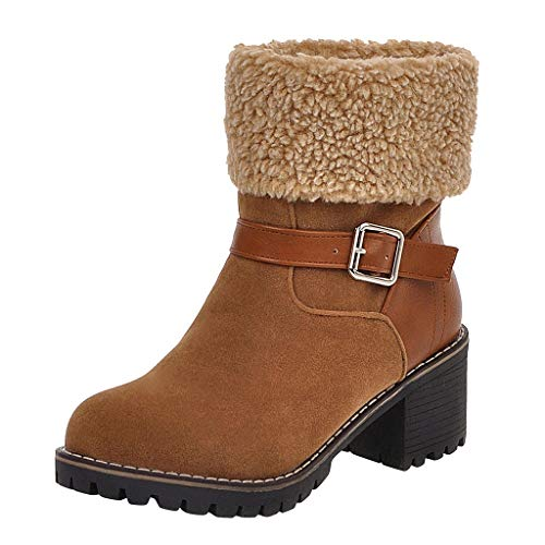 ❤Kauneus❤ Women's Round Toe Faux Suede Ankle Booties Faux Fur Lined Warm Winter Boot Chunky Mid Heel Fashion Boots Brown (Saddle Brown Scarf Infinity)