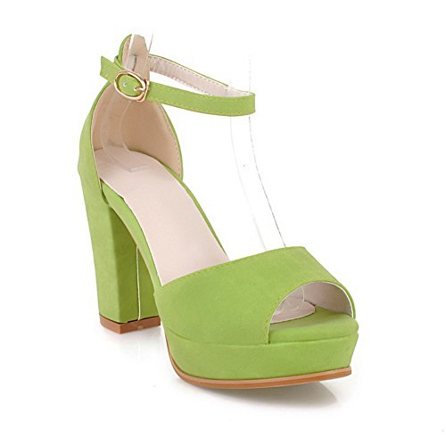 Sandals Buckle Girls High Material Soft 1TO9 Heels Green xFpqYwYHC