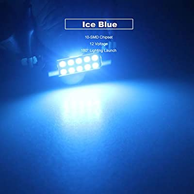 DODOFUN 41MM 42MM Festoon 211-2 569 578 6411 Ice Blue Color Extra Bright LED Bulbs for Car Interior Lights License Plate Map Dome Trunk Door Courtesy Light 10-SMD Chipset Canbus Error Free: Automotive