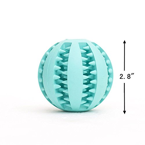 Hechen-Refillable-Food-Treat-Pet-Ball-Non-Toxic-Rubber-Bite-Resistant-Tooth-Cleaning-Toy-for-Dog-Training-IQ-Playing-Diameter-28-Blue