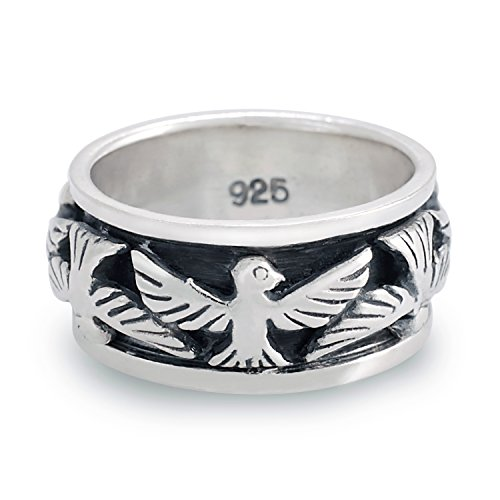 Chuvora 925 Oxidized Sterling Silver Eagle Thunderbird Bird Native Indian Band Ring Size 8