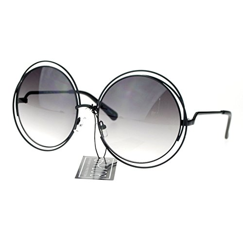 94e6ee5b44 Amazon.com  Womens Round Double Wire Metal Rim Oversize Circle Lens  Sunglasses Black  Clothing