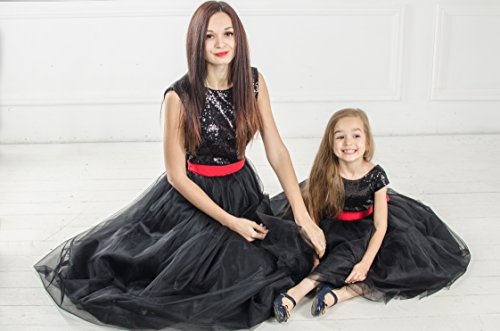 Black Mommy and Me sequin matching dress dresses outfits Mother daughter matching tutu dresses Black dresses Mother and Me birthday dress by MatchingLook