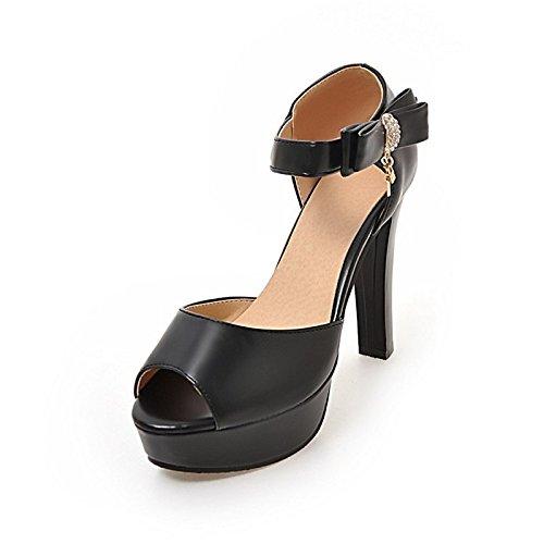 ZHZNVX Zapatos de mujer polipiel Materiales personalizados novedad verano comodidad sandalias Chunky talón peep toe para Boda Office,Carrera blanco Black