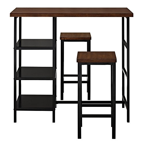 Dorel Living DL7695 Cosmo 3-Piece Metal Pub Set With Wood Top, Dark Mahogany
