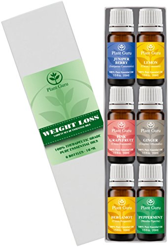 ★Weight loss set★ Essential Oil Variety set Kit - 6 Pack - 100% Pure Therapeutic Grade 10ml. Set includes- (Peppermint, Grapefruit, Juniper Berry, Lemon, Ginger, Bergamot)