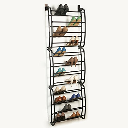 Richards Homewares Over The Over The Door (36 Pair) Over The Rack-36 Shoe Organizer Finish-Metal Tubes-No Tools Required-Easy Assembly-22.9 x 8.1 x 71.2, Bronze