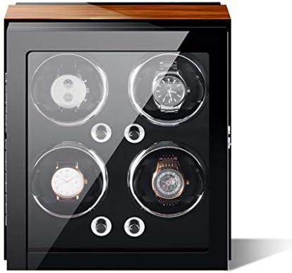 LSRRYD 高級 自動腕時計ワインディングマシーン 時計 ウォッチワインダー 4 + 0 木製 収納ボ ピアノペイント PUレザー枕ドディスプレイ 5回転モード蓋を開けると自動停止 (Color : Gold-black)