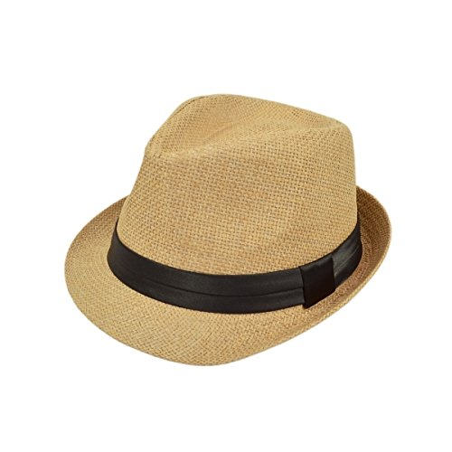 TrendsBlue Classic Natural Fedora Straw Hat - Tan with Black Band