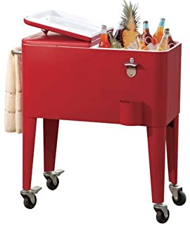 Sunjoy Group Intl Pte L BC153PST Beverage Cooler Cart, With Wheels, Red  Steel