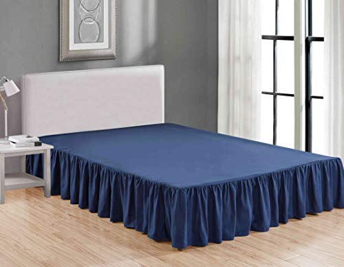 Sheets & Beyond Wrap Around Solid Luxury Hotel Quality Fabric Bedroom Dust Ruffle Wrinkle and Fade Resistant Gathered Bed Skirt 14 Inch Drop (Queen, - Sheet Ruffle