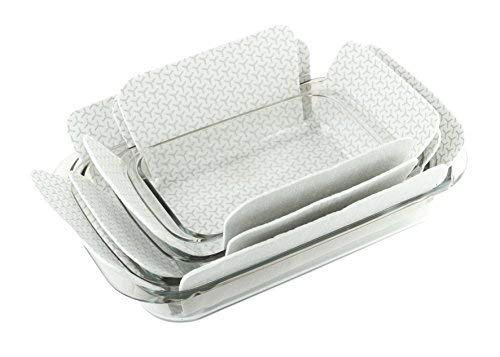 (Bakeware Protectors - Set of 3 - Gray - One Piece 19 X 15 Inches Plus Two Pieces 16 X 14 Inches - Padded Pot and Pan Protectors To Protect Square And Rectangular Cookware)