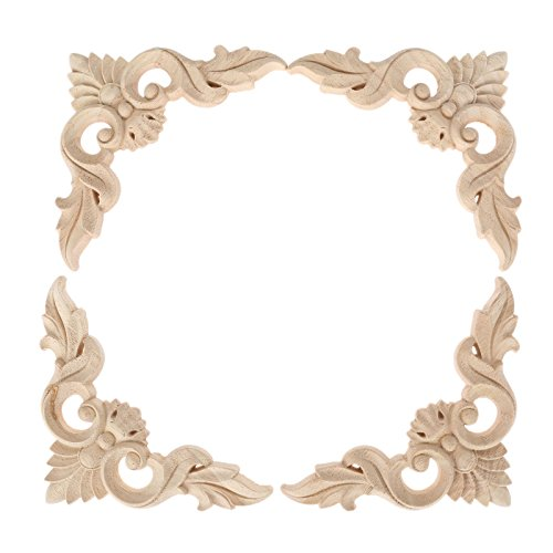 4pcs 12x12cm/4.72''x4.72'' Wood Carved Corner Onlay Furniture Home Decorations Unpainted Applique by MUXSAM