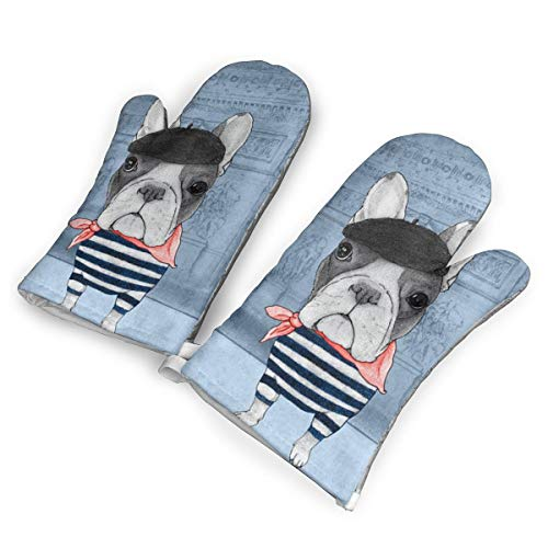 (DRAMA QUEEN Oven Mitts Set Boston Terrier Advanced Heat Resistant Microwave Non-Slip Oven Mitts for Cooking Baking)