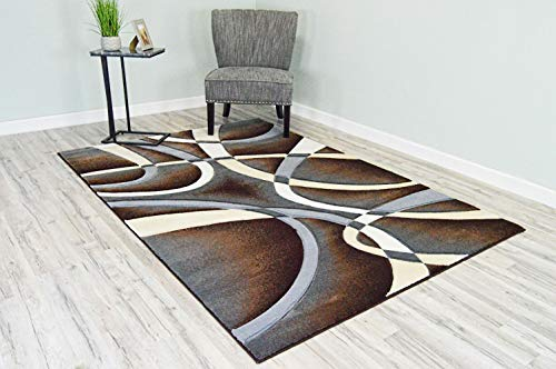 PlanetRugs Premium 3D Effect Hand Carved Thick Modern Contemporary Abstract Area Rug Design 2305 Espress Brown 5'3''x7'6'' ()