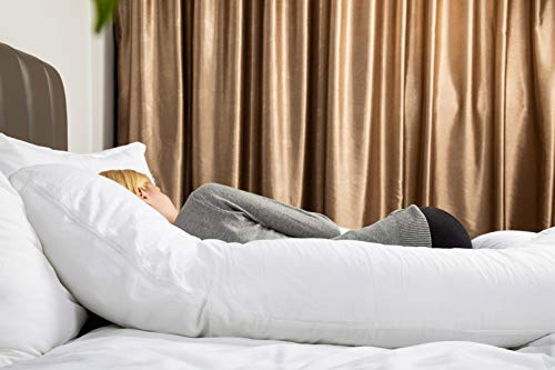 QUEEN ROSE Pregnancy Pillow -Maternity Body Pillow U Shaped,Support Back/Neck/Head with Velvet Cover (55in, White)