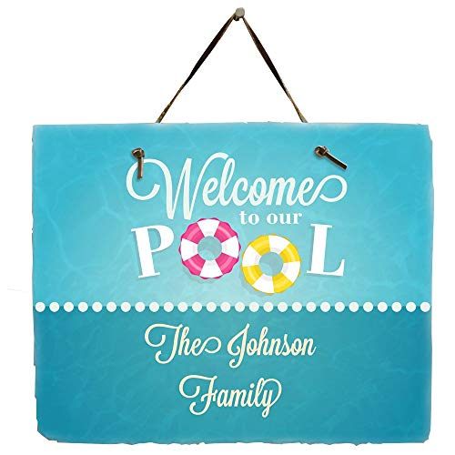 - GiftsForYouNow Personalized Swimming Pool Welcome Slate Plaque, 11.5