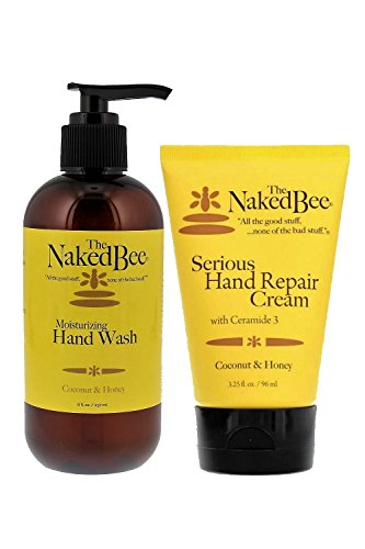 Naked Bee 8oz Coconut & Honey Hand Wash and 3.25oz Coconut & Honey Serious Hand Repair Cream, Natural Personal Care (Hand Wash Coconut)