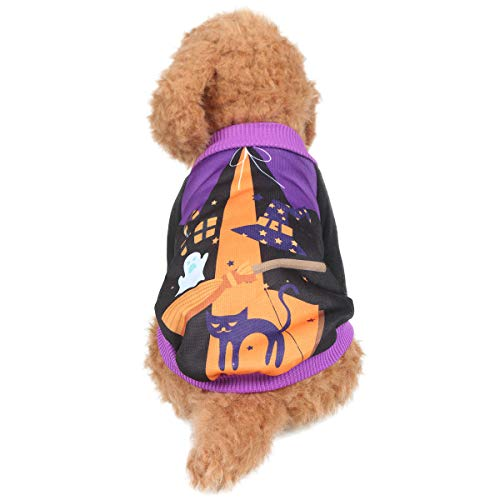 Yunison Dog Cat Witch Costume for Halloween T-Shirts Pet Clothes Puppy Outfits