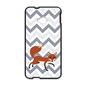 Adorable Cleverness Small Fox Walking Leisurely Blue White Purple Chevron Htc One M7 Case Cover Shell (Laser Technology)