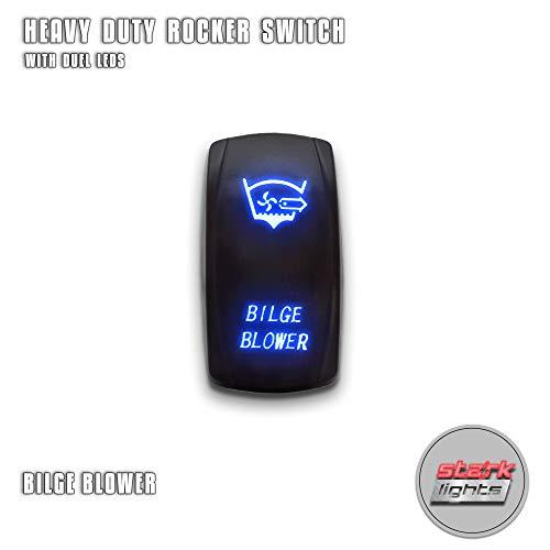 BILGE BLOWER - Blue - STARK 5-PIN Laser Etched LED Rocker Switch Dual Light - 20A 12V ON/OFF