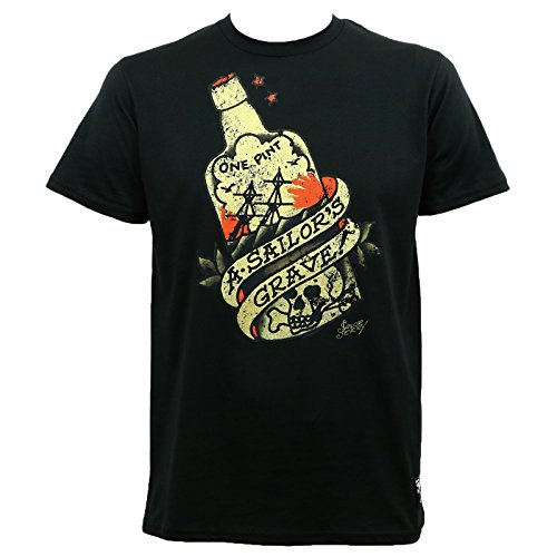 (Sailor Jerry Mens Sailor's Grave Rum Bottle Black Slim Fit T-Shirt)