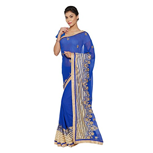 Viva-N-Diva-Blue-And-Beige-Georgette-And-Net-Saree-With-Unstitched-Blouse-Piece