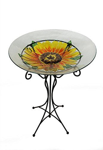 NorthLight 23.5 in. Hand Painted Glass Yellow Sunflower Spring Outdoor Garden Bird Bath by CC Outdoor Living