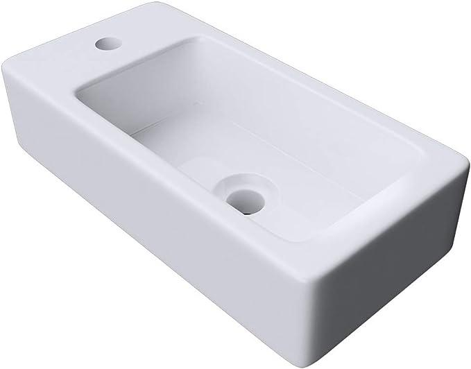 doporro Lavabo sobre encimera blanco de cer/ámica de dise/ño Br/üssel159 de 59 cm ancho con efecto Nano-sellado//Efecto de Lotus