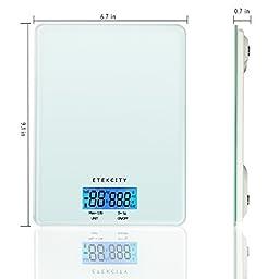 Etekcity Kitchen Scale 0.1oz/1g 13lb/6kg 5-Unit Digital Food Scale With Liquid Measurement, Tempered Glass Platform