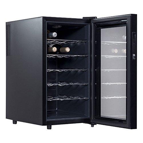 18 Bottles Thermoelectric Wine Cooler Fridge Refrigerator Freestanding Cellar Rack Storage Holder Cabinet Chiller Home Restaurant Kitchen Dining Room Bar Use Low Energy Consumption