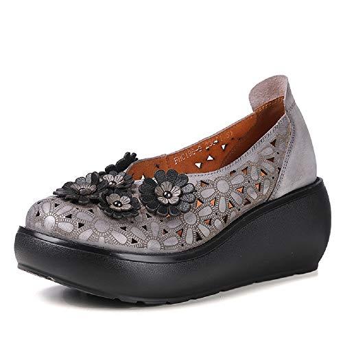 Eu Plataforma Jane Gris Zapatos Flor Transpirable Gris De 40 Cuero Los Mujer Mary Hacia Fuera Tamaño color Ahueca Qiusa qRaPSP