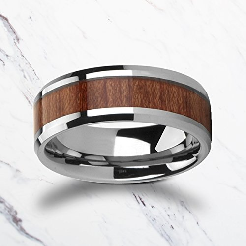 Beveled Authentic Rosewood Tungsten Wood Ring with Polished Edges - 4mm to 12mm Available - Lifetime Size Exchange by TRIFORCE RINGS