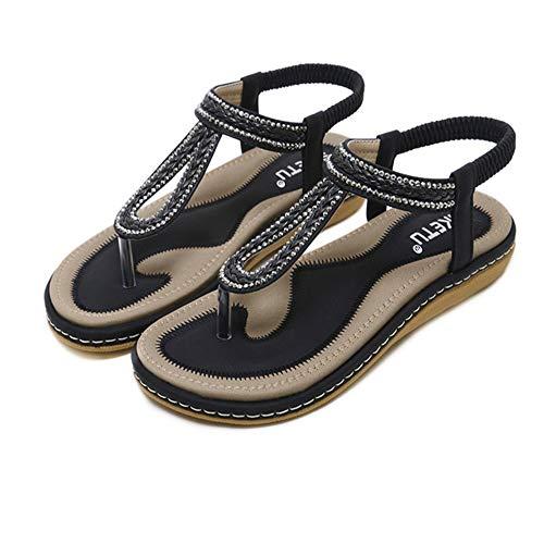 De Zapatos Verano De Cuero Rhinestone De Bohemia Negro Bajo De Las Bajo Sandalias De Tacón De Mujeres De Zapatillas Playa Tacón Zapatos qUgSwxHtB