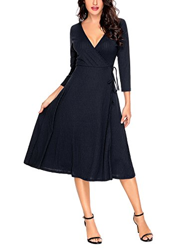 Sleeve Knit Wrap (luvamia Women's Navy V Neck Ribbed Knit 3/4 Sleeves Faux Wrap Textured Midi Knee Length Casual Dress Size M)