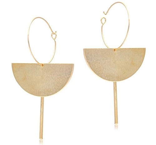 Figaro Design Fashion Exaggerated 18K Gold Geometric Multi-Layer Half Circle Dangle Drop Earring for Women