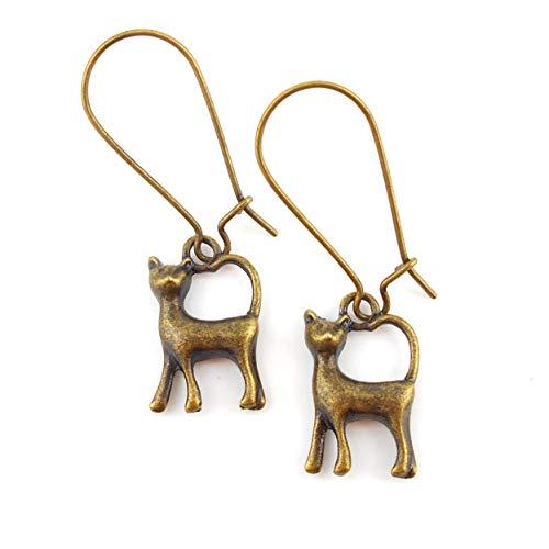 Medium Drop Cat Earrings on Antique Bronze 24mm kidney wires