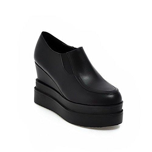 Allhqfashion Womens Tacco Alto Solido Rotondo Punta Chiusa Tira Pompe-scarpe Nere