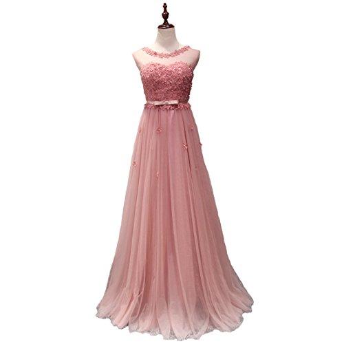 Abendkleider LuckyShe Tüll 1608 Elegant Festkleider Lang rosebrown Damen wwxBCSqAnz