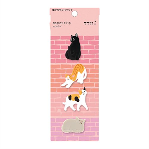 Midori Magnet Clip, 4 Pieces, Cats (43324006)
