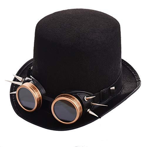 Gothic Unisex Steampunk Top Hat with Rivet Goggles Halloween Cosplay Fedora Goggle Hat Retro Vintage -