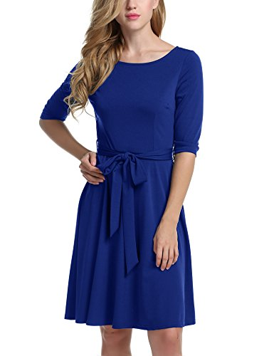 Meaneor Womans 3/4 Sleeve Casual Swing And Cocktail dress w/ Belt, Deep Blue, Small
