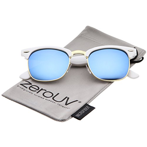 zeroUV - Half Frame Semi Rimless Sunglasses for Men Women with Colored Mirror Lens 50mm (White-Gold/Blue ()