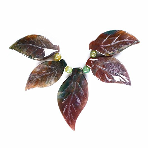 40-53mm Carved gemstone leaf leaves graduated pendant beads set Jewelry Making (Indian agate) ()