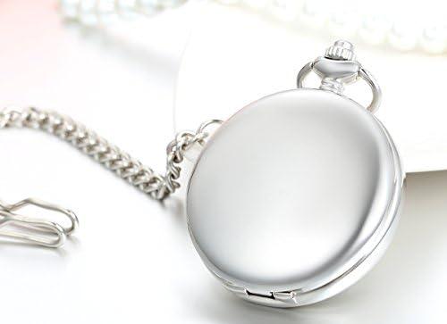 JewelryWe 懐中時計アンティークスタイルの手巻きのネックレスの腕時計、ペンダントウォッチ懐中時計、スタイリッシュな英数字の文字盤、ミラーの完全なハンターシンプル銀、合金、バレンタインの贈り物 ゴールド